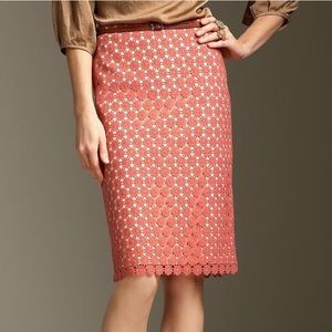 Talbots Coral Pink Daisy Lace Pencil Skirt